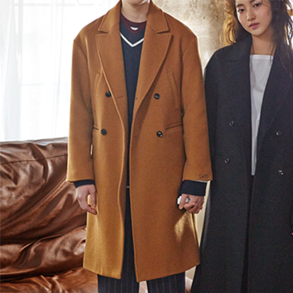 STRAIGHT FIT DOUBLE COAT(BROWN)